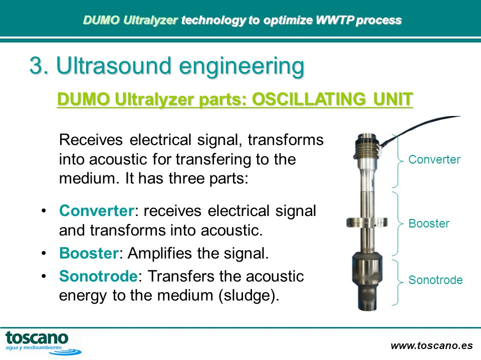 www.toscano.es DUMO Ultralyzer technology to optimize WWTP process DUMO Ultralyzer technology to optimize WWTP process 3. Ultrasound engineering Recei