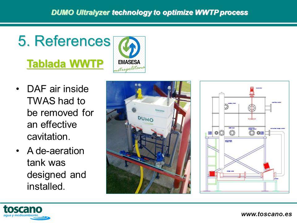 www.toscano.es DUMO Ultralyzer technology to optimize WWTP process DUMO Ultralyzer technology to optimize WWTP process DAF air inside TWAS had to be r