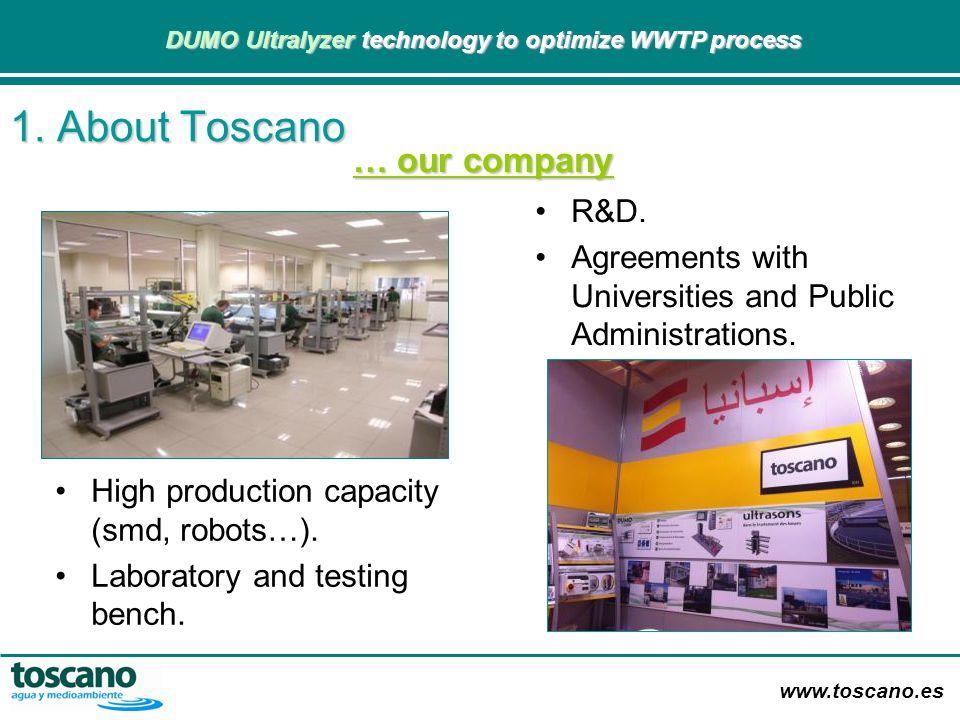 www.toscano.es DUMO Ultralyzer technology to optimize WWTP process DUMO Ultralyzer technology to optimize WWTP process 1. About Toscano R&D. Agreement