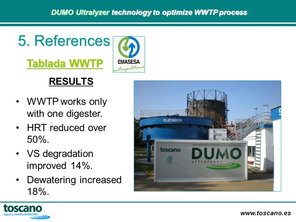 www.toscano.es DUMO Ultralyzer technology to optimize WWTP process DUMO Ultralyzer technology to optimize WWTP process RESULTS WWTP works only with on