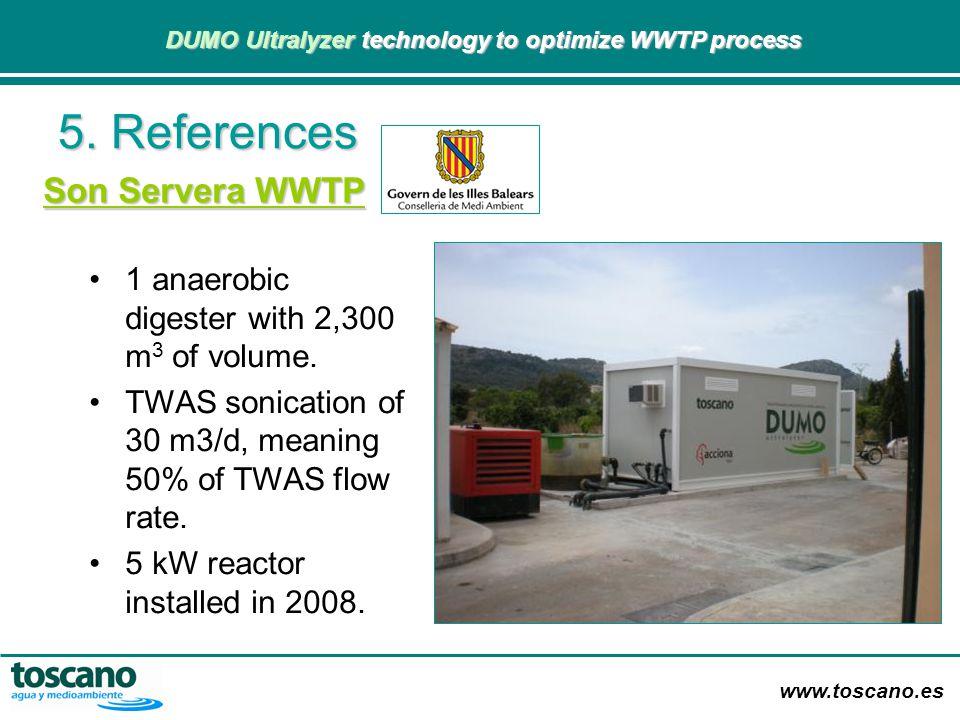 www.toscano.es DUMO Ultralyzer technology to optimize WWTP process DUMO Ultralyzer technology to optimize WWTP process Son Servera WWTP 1 anaerobic di