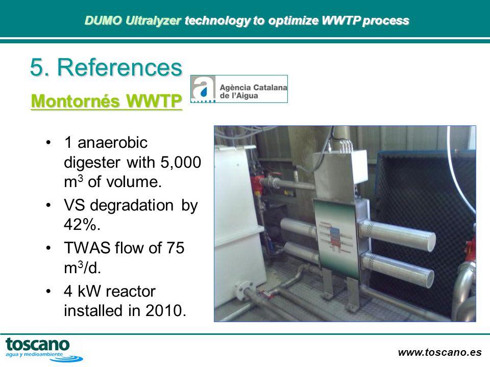 www.toscano.es DUMO Ultralyzer technology to optimize WWTP process DUMO Ultralyzer technology to optimize WWTP process Montornés WWTP 1 anaerobic dige