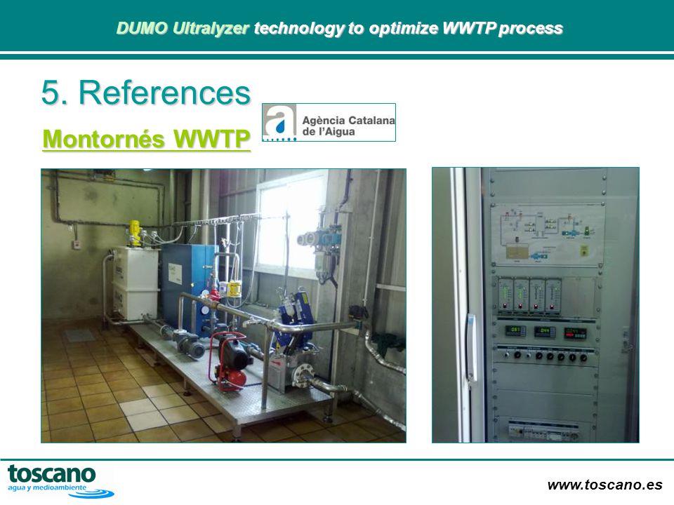 www.toscano.es DUMO Ultralyzer technology to optimize WWTP process DUMO Ultralyzer technology to optimize WWTP process 5. References Montornés WWTP