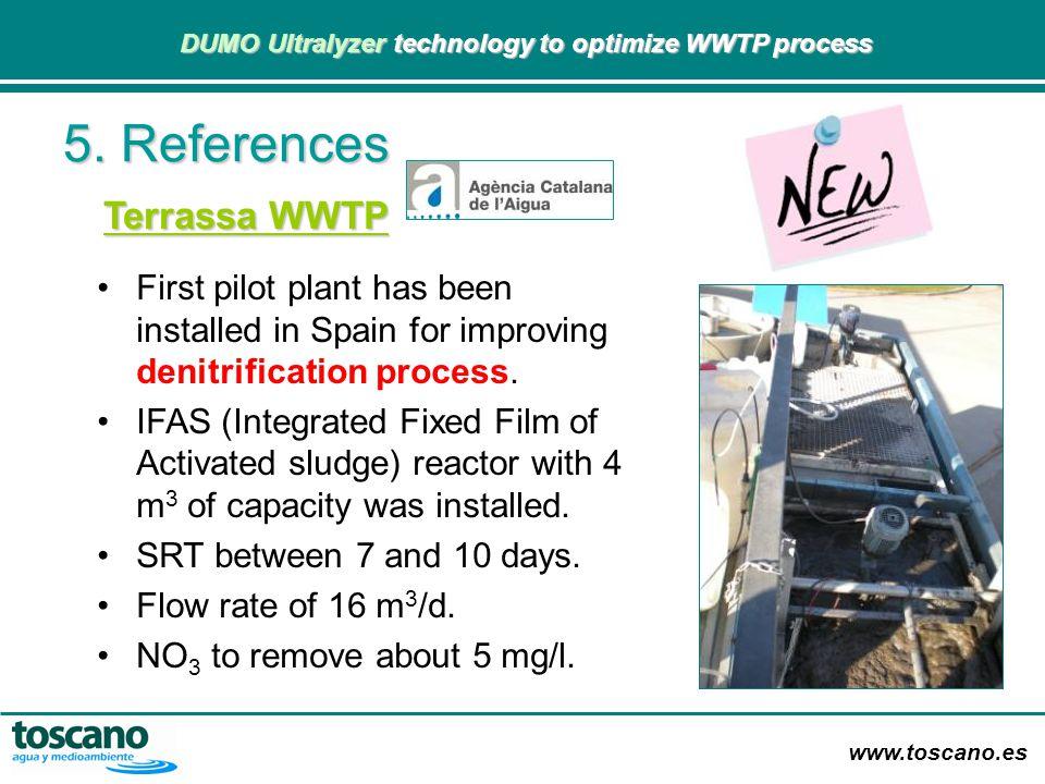 www.toscano.es DUMO Ultralyzer technology to optimize WWTP process DUMO Ultralyzer technology to optimize WWTP process 5. References Terrassa WWTP Fir