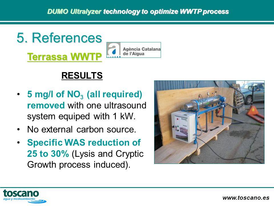 www.toscano.es DUMO Ultralyzer technology to optimize WWTP process DUMO Ultralyzer technology to optimize WWTP process 5. References Terrassa WWTP RES