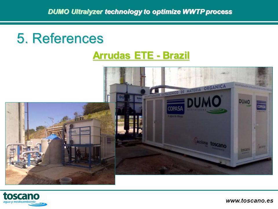 www.toscano.es DUMO Ultralyzer technology to optimize WWTP process DUMO Ultralyzer technology to optimize WWTP process Arrudas ETE - Brazil 5. Referen