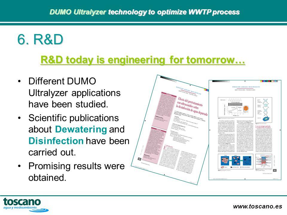 www.toscano.es DUMO Ultralyzer technology to optimize WWTP process DUMO Ultralyzer technology to optimize WWTP process R&D today is engineering for to