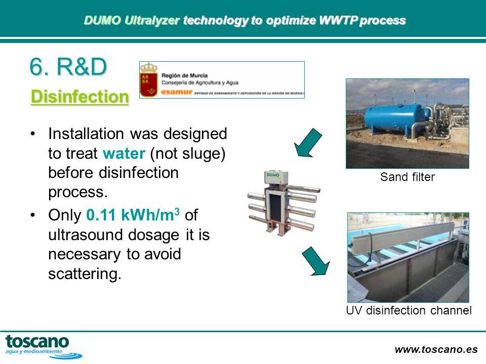 www.toscano.es DUMO Ultralyzer technology to optimize WWTP process DUMO Ultralyzer technology to optimize WWTP process 6. R&D Installation was designe