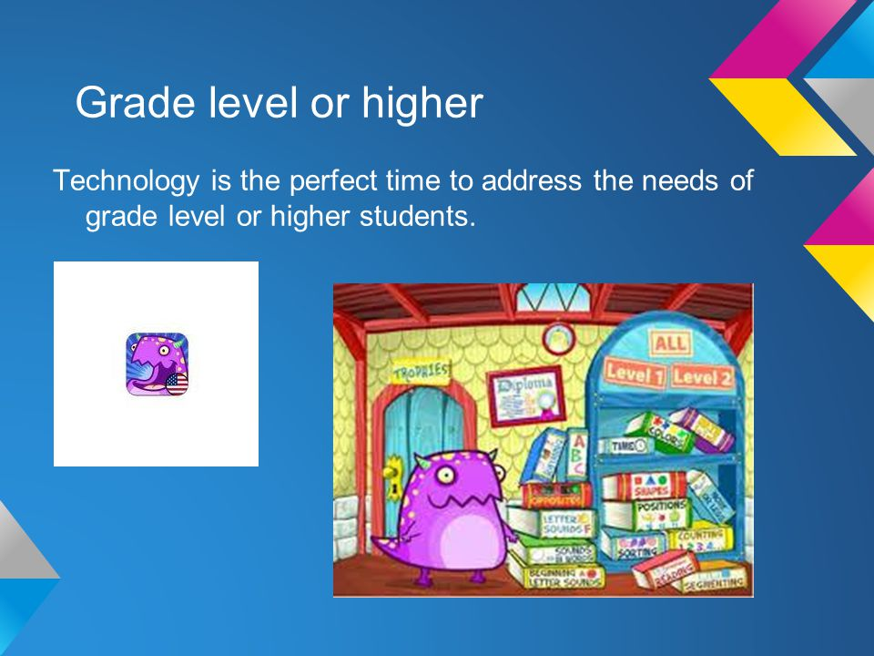 Grade level or higher Technology is the perfect time to address the needs of grade level or higher students.