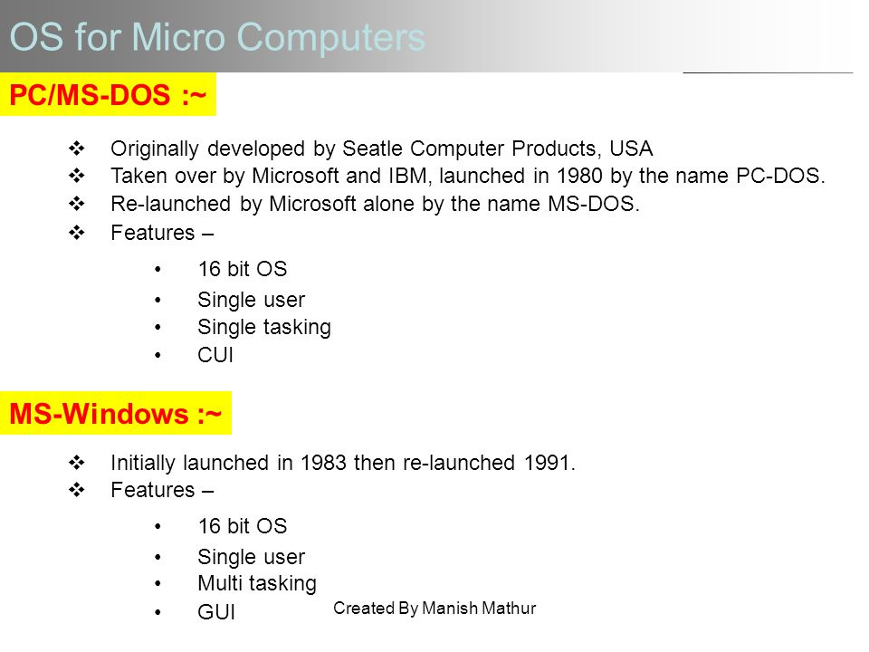 OS for Micro Computers PC/MS-DOS :~ Originally developed by Seatle Computer Products, USA Taken over by Microsoft and IBM, launched in 1980 by the nam