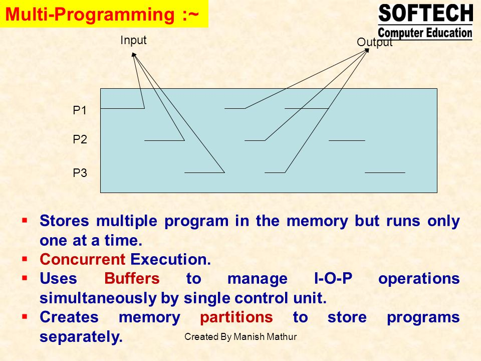 Multi-Programming :~ P1 P2 P3 Input Output Stores multiple program in the memory but runs only one at a time. Concurrent Execution. Uses Buffers to ma