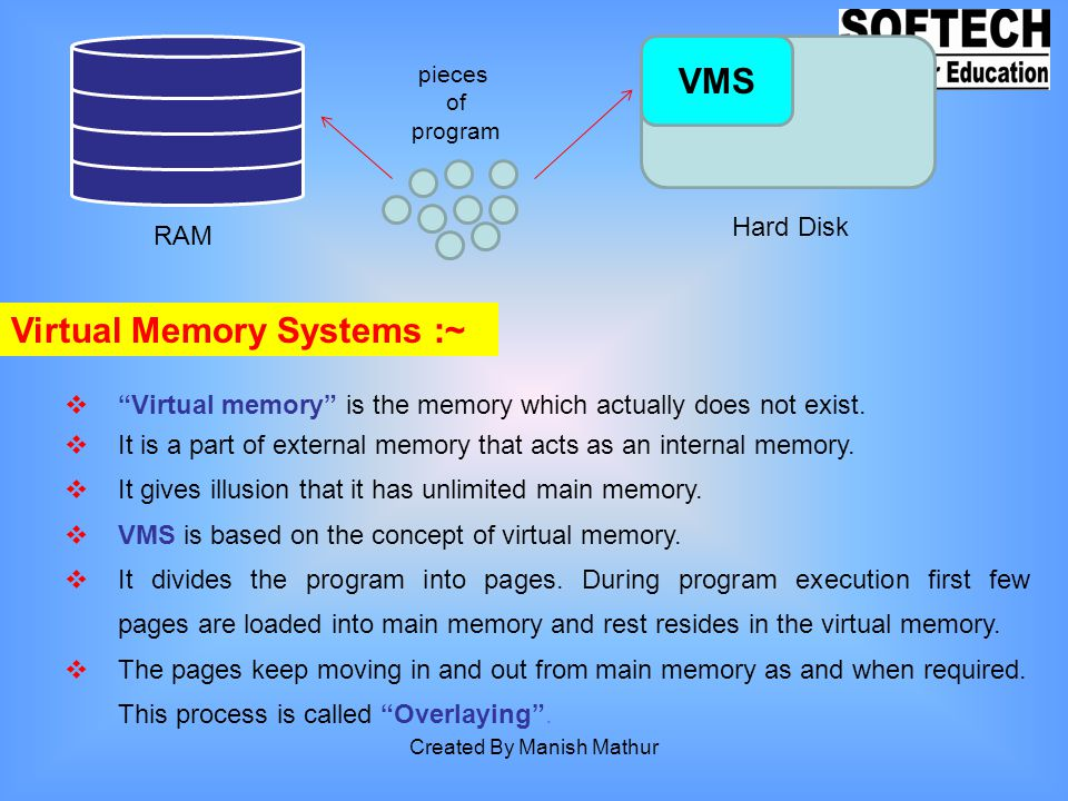 Virtual Memory Systems :~ Virtual memory is the memory which actually does not exist. It is a part of external memory that acts as an internal memory.
