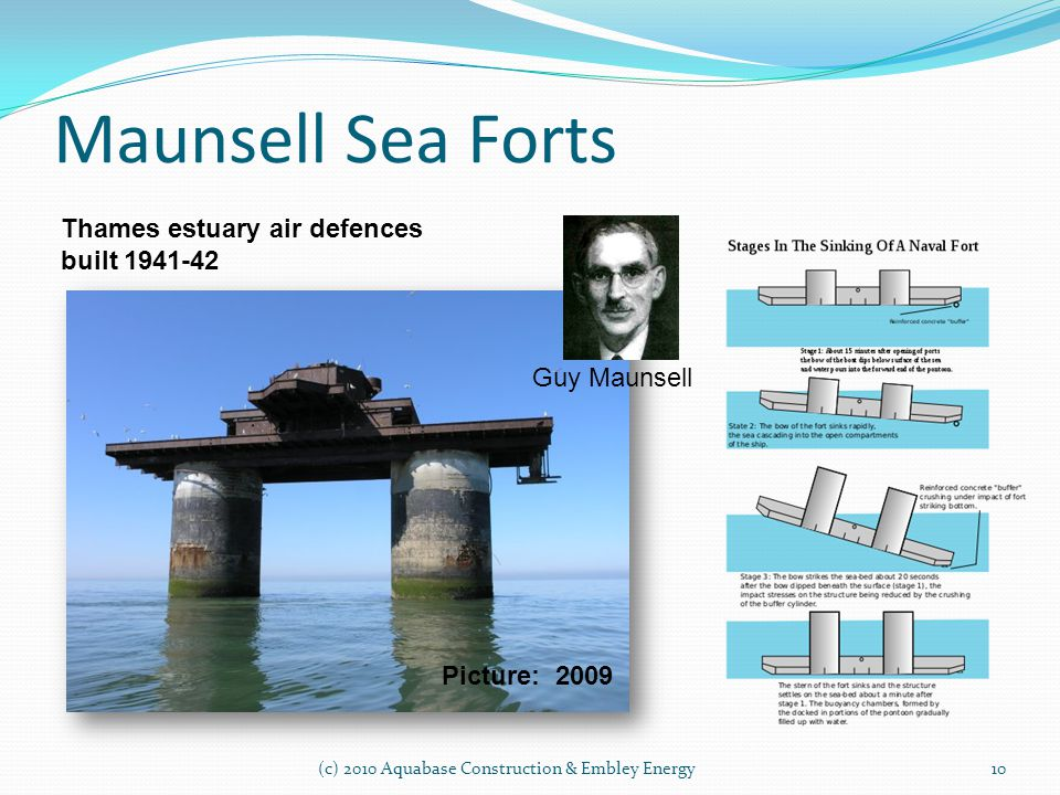 Maunsell Sea Forts (c) 2010 Aquabase Construction & Embley Energy10 Thames estuary air defences built 1941-42 Guy Maunsell Picture: 2009