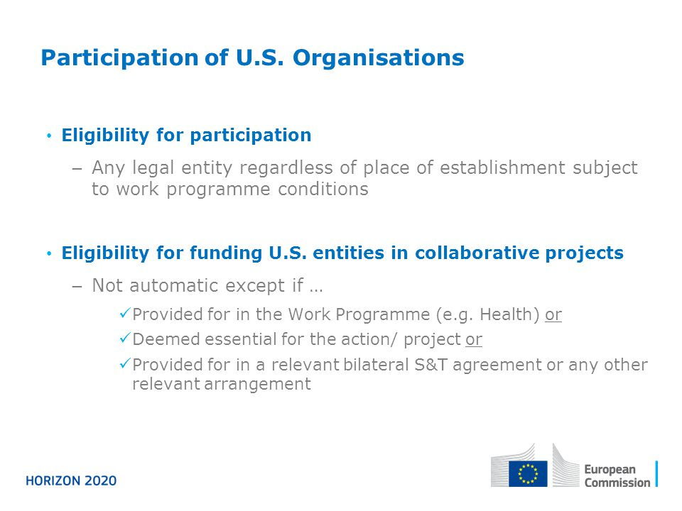 Participation of U.S. Organisations Eligibility for participation Any legal entity regardless of place of establishment subject to work programme cond
