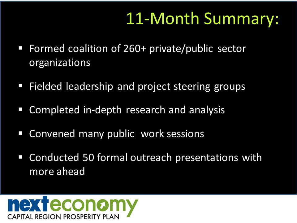 11-Month Summary: Formed coalition of 260+ private/public sector organizations Fielded leadership and project steering groups Completed in-depth research and analysis Convened many public work sessions Conducted 50 formal outreach presentations with more ahead