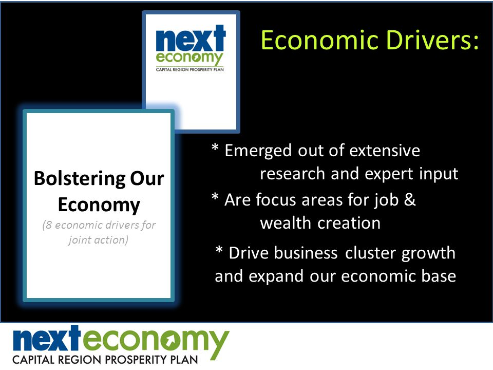 Economic Drivers: Bolstering Our Economy (8 economic drivers for joint action) Bolstering Our Economy (8 economic drivers for joint action) * Emerged out of extensive research and expert input * Are focus areas for job & wealth creation * Drive business cluster growth and expand our economic base
