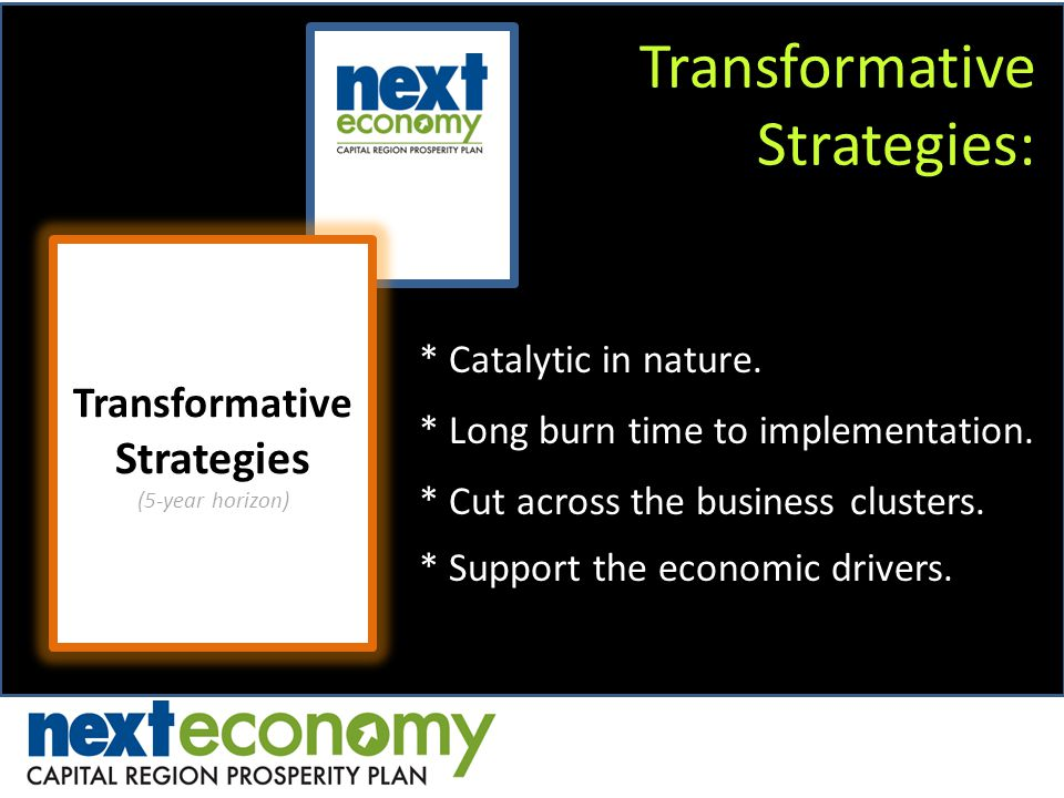Transformative Strategies: Transformative Strategies (5-year horizon) * Catalytic in nature. * Long burn time to implementation. * Cut across the busi