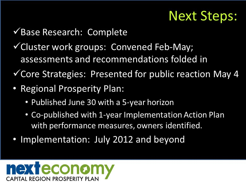 Next Steps: Base Research: Complete Cluster work groups: Convened Feb-May; assessments and recommendations folded in Core Strategies: Presented for public reaction May 4 Regional Prosperity Plan: Published June 30 with a 5-year horizon Co-published with 1-year Implementation Action Plan with performance measures, owners identified.