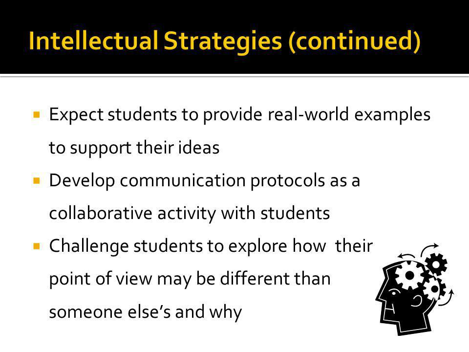 Expect students to provide real-world examples to support their ideas Develop communication protocols as a collaborative activity with students Challe