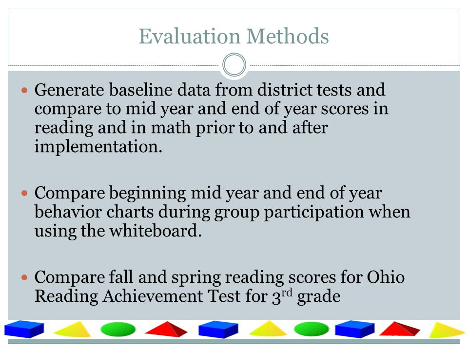 Anticipated Results Improved classroom test scores.