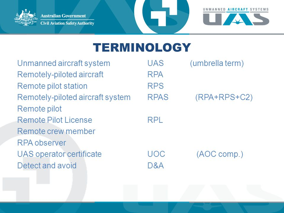 TERMINOLOGY Unmanned aircraft system Remotely-piloted aircraft Remote pilot station Remotely-piloted aircraft system Remote pilot Remote Pilot License