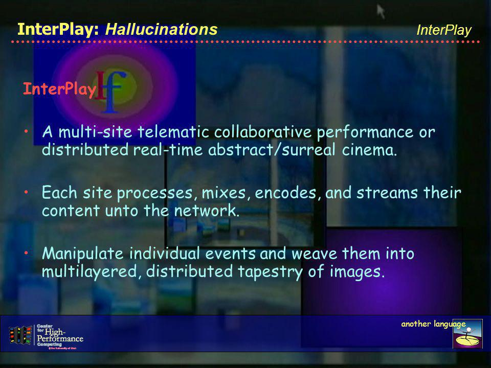 InterPlay: Hallucinations InterPlay A multi-site telematic collaborative performance or distributed real-time abstract/surreal cinema.