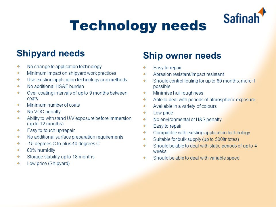 Technology needs Shipyard needs No change to application technology Minimum impact on shipyard work practices Use existing application technology and methods No additional HS&E burden Over coating intervals of up to 9 months between coats Minimum number of coats No VOC penalty Ability to withstand U/V exposure before immersion (up to 12 months) Easy to touch up/repair No additional surface preparation requirements.