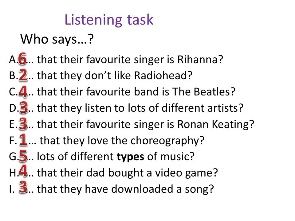 Listening task A.… that their favourite singer is Rihanna? B.… that they dont like Radiohead? C.… that their favourite band is The Beatles? D.… that t