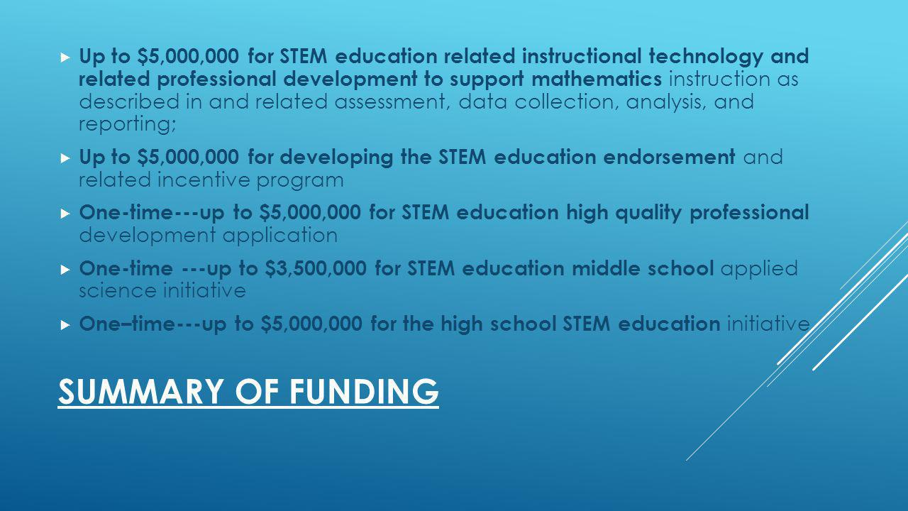 SUMMARY OF FUNDING Up to $5,000,000 for STEM education related instructional technology and related professional development to support mathematics instruction as described in and related assessment, data collection, analysis, and reporting; Up to $5,000,000 for developing the STEM education endorsement and related incentive program One-time---up to $5,000,000 for STEM education high quality professional development application One-time ---up to $3,500,000 for STEM education middle school applied science initiative One–time---up to $5,000,000 for the high school STEM education initiative