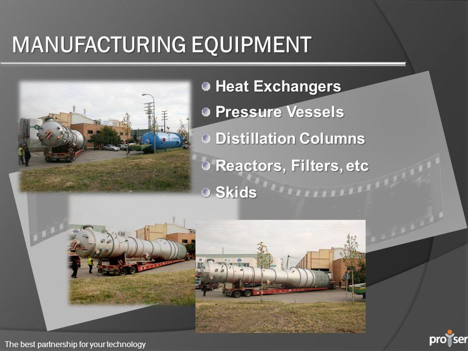 The best partnership for your technology MANUFACTURING EQUIPMENT Heat Exchangers Pressure Vessels Distillation Columns Reactors, Filters, etc Skids Skids
