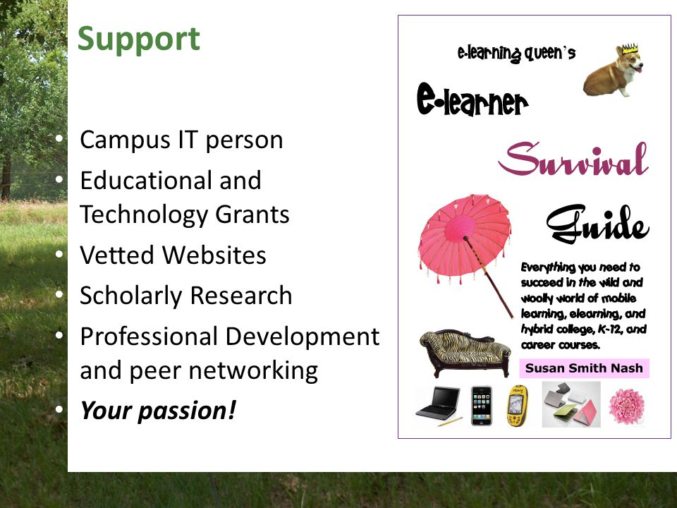 Support Campus IT person Educational and Technology Grants Vetted Websites Scholarly Research Professional Development and peer networking Your passion!