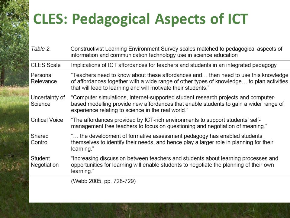 CLES: Pedagogical Aspects of ICT