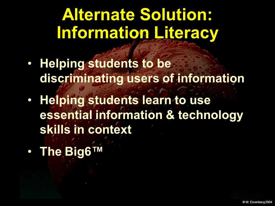 © M. Eisenberg 2004 Alternate Solution: Information Literacy Helping students to be discriminating users of information Helping students learn to use