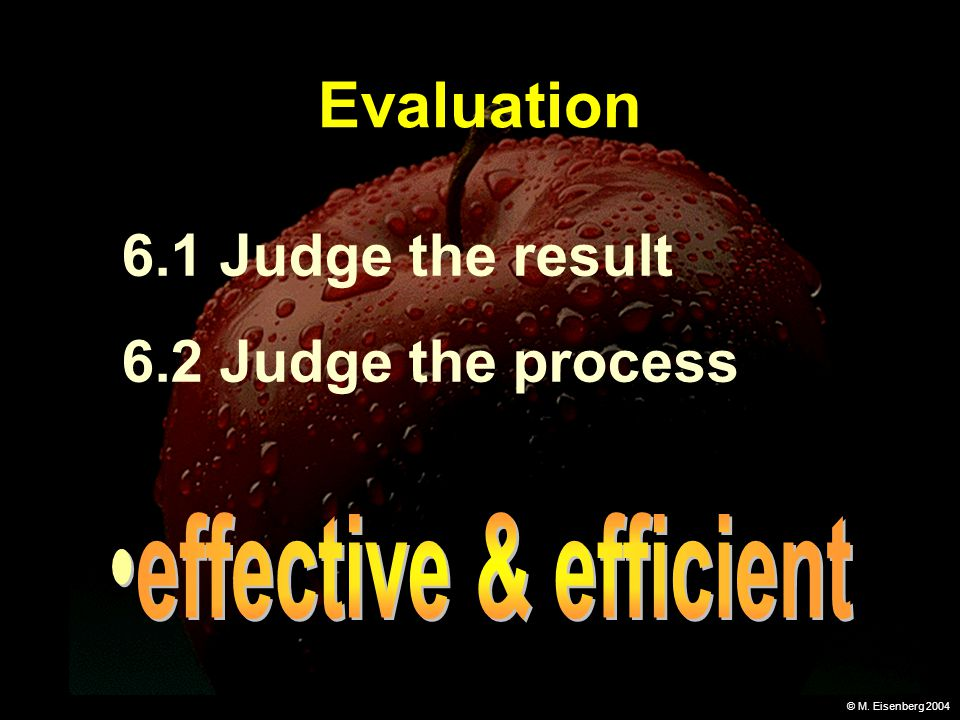 © M. Eisenberg 2004 Evaluation 6.1 Judge the result 6.2 Judge the process
