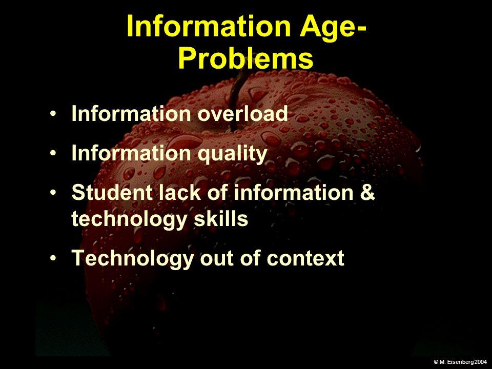 © M. Eisenberg 2004 Information Age- Problems Information overload Information quality Student lack of information & technology skills Technology out