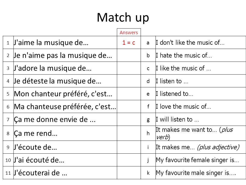 Match up Answers 1 J aime la musique de… 1 = c a I don t like the music of… 2 Je n aime pas la musique de… b I hate the music of… 3 J adore la musique de… c I like the music of … 4 Je déteste la musique de… d I listen to … 5 Mon chanteur préféré, c est… e I listened to… 6 Ma chanteuse préférée, c est… f I love the music of… 7 Ça me donne envie de...