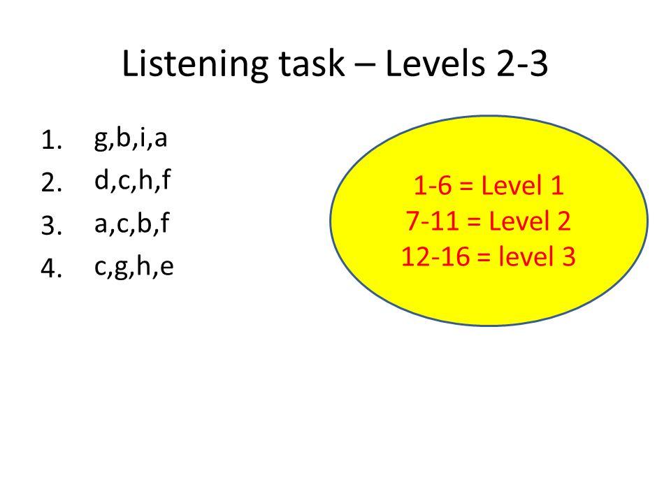 Listening task – Levels 2-3 1. 2. 3. 4. g,b,i,a d,c,h,f a,c,b,f c,g,h,e 1-6 = Level 1 7-11 = Level 2 12-16 = level 3