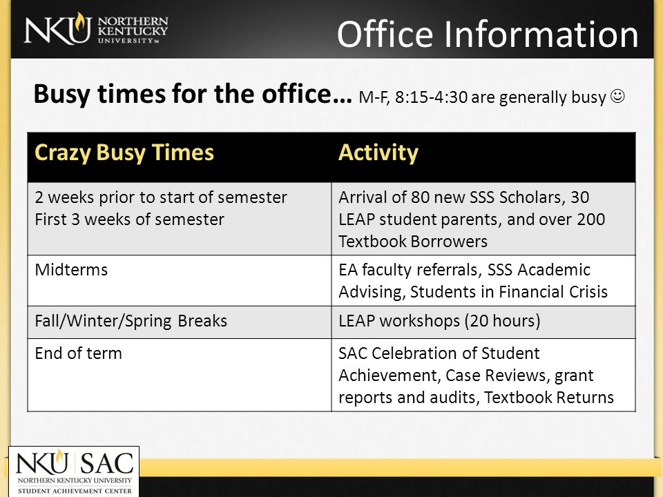 Office Information Busy times for the office… M-F, 8:15-4:30 are generally busy Crazy Busy TimesActivity 2 weeks prior to start of semester First 3 we