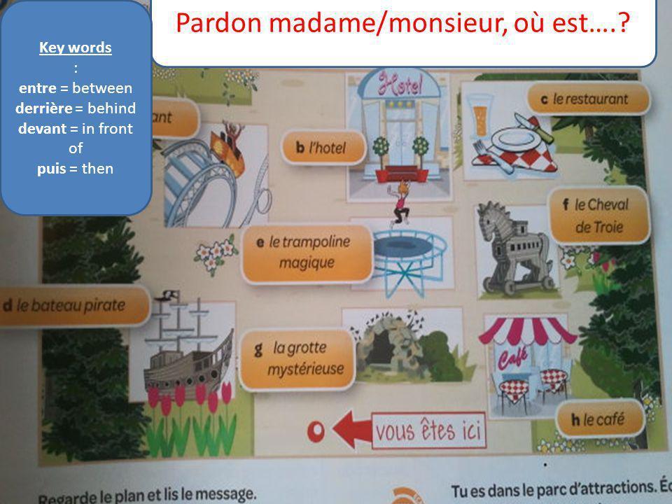 Pardon madame/monsieur, où est….? Key words : entre = between derrière = behind devant = in front of puis = then