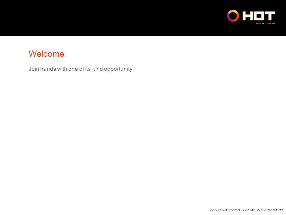 © 2012 UNIQUE INFOWAYS - CONFIDENTIAL AND PROPRIETARY Welcome Join hands with one of its kind opportunity