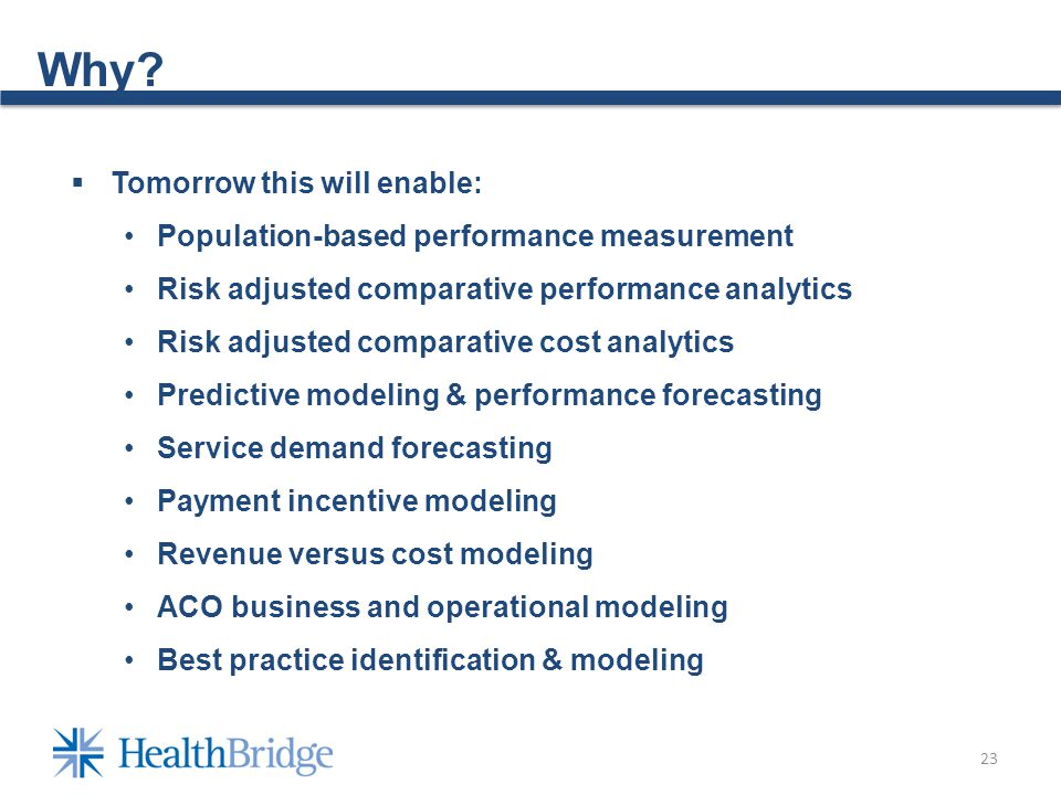 23 Why? Tomorrow this will enable: Population-based performance measurement Risk adjusted comparative performance analytics Risk adjusted comparative