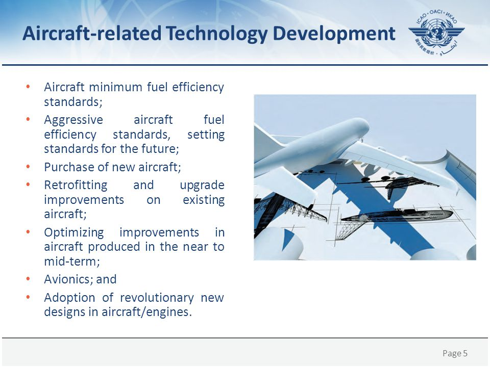 Page 5 Aircraft minimum fuel efficiency standards; Aggressive aircraft fuel efficiency standards, setting standards for the future; Purchase of new ai