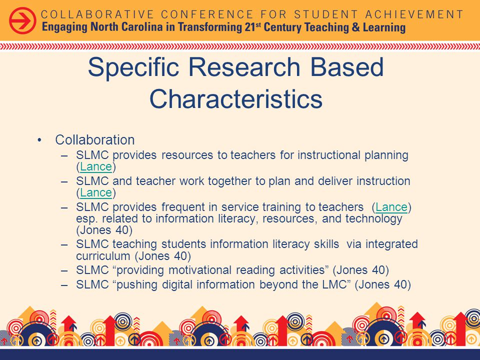 Collaboration –SLMC provides resources to teachers for instructional planning (Lance)Lance –SLMC and teacher work together to plan and deliver instruction (Lance)Lance –SLMC provides frequent in service training to teachers (Lance) esp.