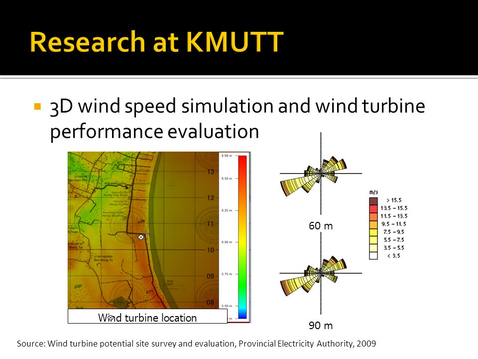3D wind speed simulation and wind turbine performance evaluation Wind turbine location 60 m90 m Source: Wind turbine potential site survey and evaluation, Provincial Electricity Authority, 2009
