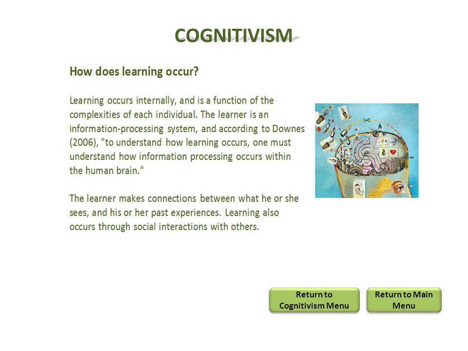 COGNITIVISM Return to Cognitivism Menu Return to Cognitivism Menu Return to Main Menu Return to Main Menu