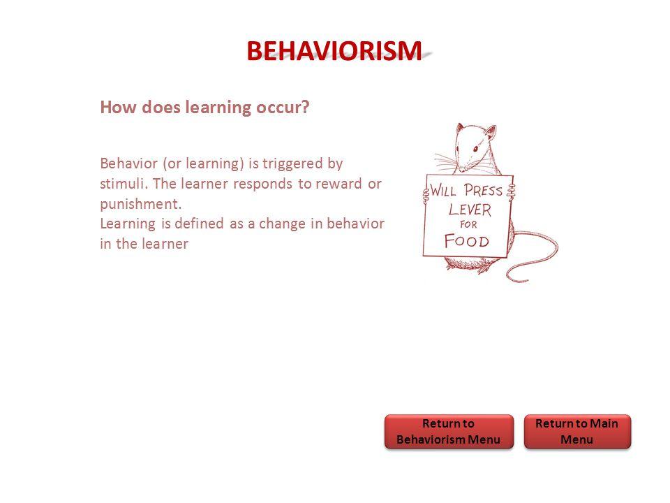 BEHAVIORISM Return to Main Menu Return to Main Menu Return to Behaviorism Menu Return to Behaviorism Menu