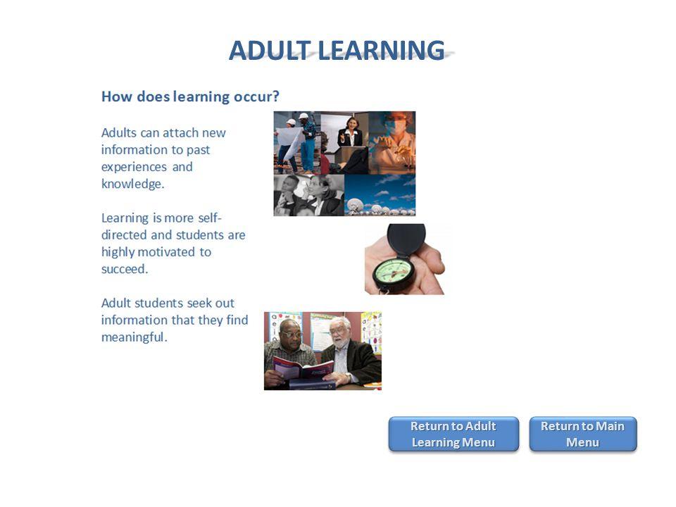 Return to Adult Learning Menu Return to Adult Learning Menu Return to Adult Learning Menu Return to Adult Learning Menu Return to Main Menu Return to Main Menu Return to Main Menu Return to Main Menu