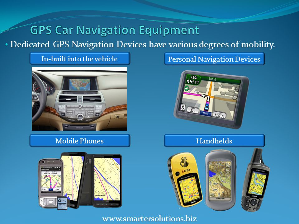 www.smartersolutions.biz Dedicated GPS Navigation Devices have various degrees of mobility.