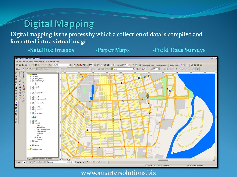 www.smartersolutions.biz Digital mapping is the process by which a collection of data is compiled and formatted into a virtual image.