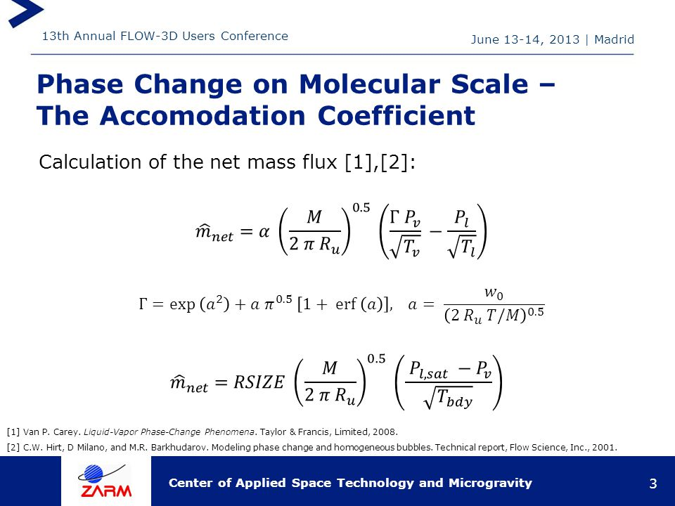 13th Annual FLOW-3D Users Conference Center of Applied Space Technology and Microgravity Phase Change on Molecular Scale – The Accomodation Coefficient June 13-14, 2013   Madrid 3 [1] Van P.
